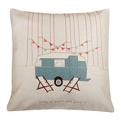 Vintage Happy Campers Home Is Where You Park It Cotton Linen Square Decorative Throw Pillow Case Cushion Cover made our list of gift ideas rv owners will be crazy about make perfect rv gift ideas