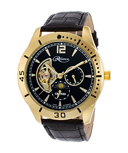 Croton Mens Reliance Automatic Multifunction Leather Watch (Black/Gold Tone)