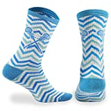 ChalkTalk SPORTS Athletic Half Cushioned Lacrosse Crew Socks | Mid Calf | Woven Chevron | White, Blue and Teal