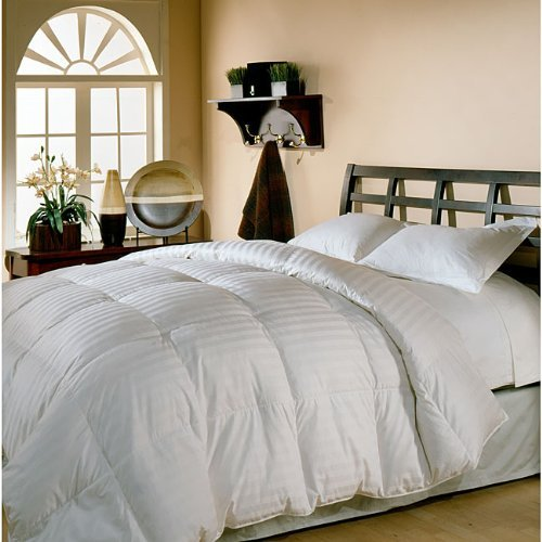 650fp 8 Pieces Cotton - King - Goose Down Comforter Bed in a Bag Set Including a Sheet Set + a Duvet Cover Set+Real-Goose Down Comforter Stripes Beige 300 Thread Count
