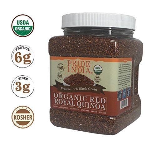(Pride Of India - Organic Red Royal Quinoa - 100% Bolivian Superior Grade Protein Rich Whole Grain, 1.5 Pound (24oz) Jar)