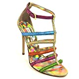 GIANMARCO LORENZI Women's Multicoloured Leather Heeled Sandals (39)