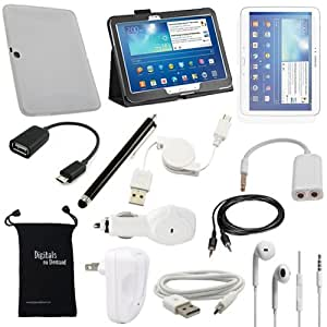 DigitalsOnDemand 13-Item Accessory Bundle for Samsung Galaxy Tab 3 10.1 (10.1-Inch) P5200 - Leather Case, TPU Cover Case, Screen Protector, USB Cables + Chargers