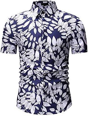 Birdfly - Camisa de Vestir de algodón con Estampado de Hojas para Hombre, Talla Grande 2L, 3L, Menos de 10 dólares (3XL, Color Blanco): Amazon.es: Electrónica