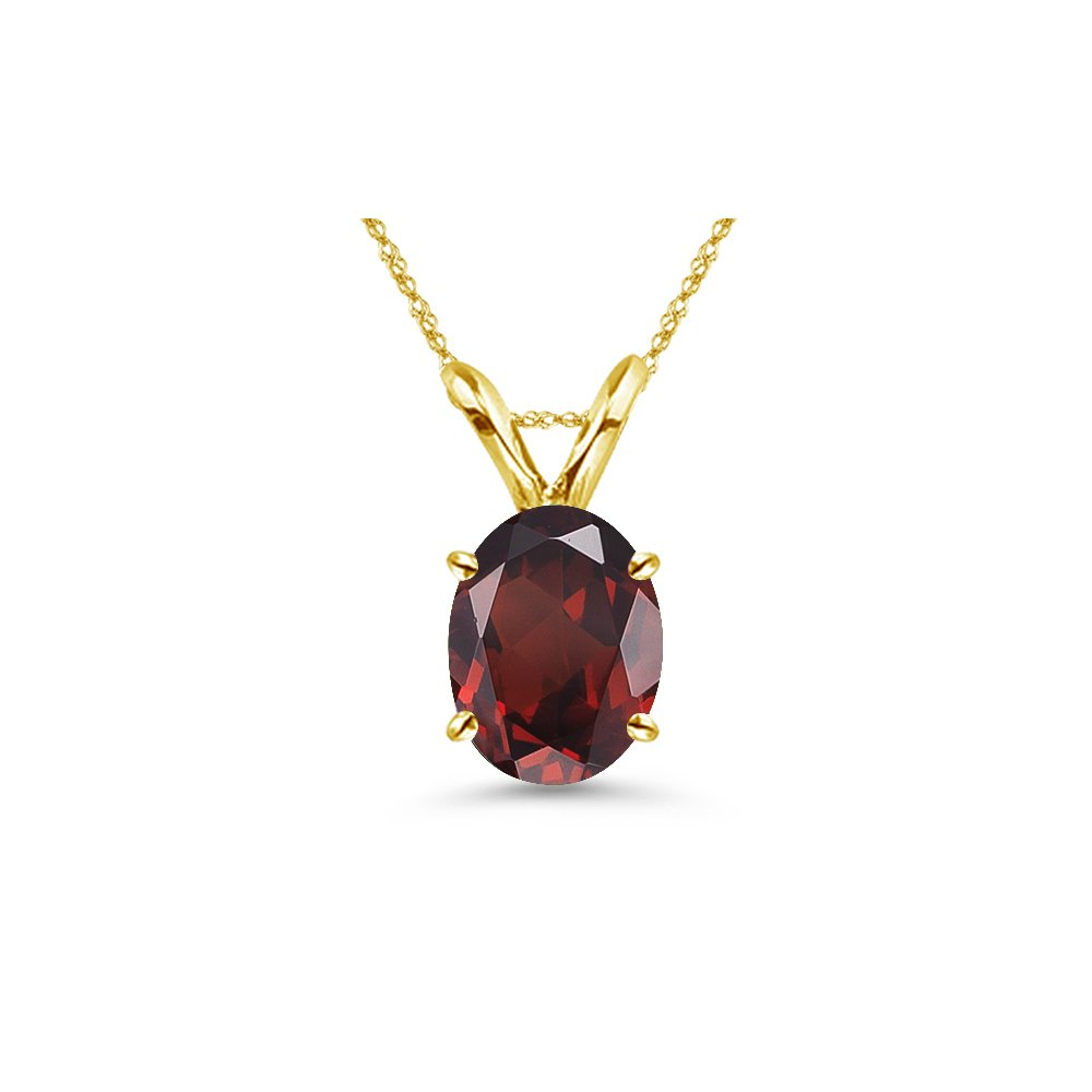 After Christmas Deals - 0.85-1.15 Cts of 7x5 mm AAA Oval Garnet Solitaire Pendant in 14K Yellow Gold by Studs Galore