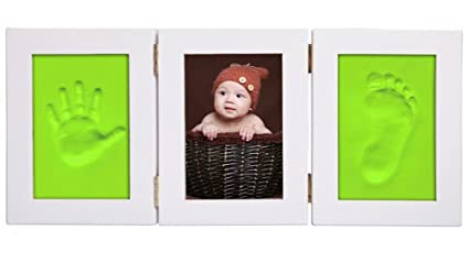 Leisial Marco de Foto Impresión Handprint y Huella Bebé Kit de Fotos Marco de Madera del
