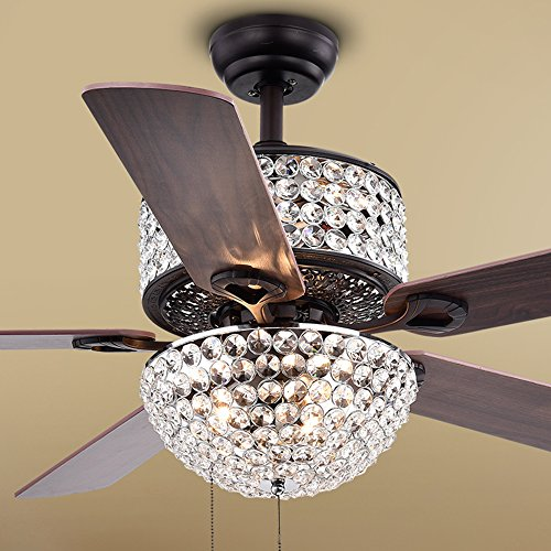 Warehouse of Tiffany CFL-8170BL Laure Crystal 6-Light 52-inch Ceiling Fan, 52