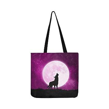 Concepto de Halloween Lobo Frente a la Luna Tote de Lona ...
