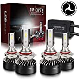 TURBO SII Extremely Bright 9005/HB3 High Beam 9006/HB4 Low Beam Combo LED Headlight Bulbs Conversion Kit, DOT Approved D6 Ser