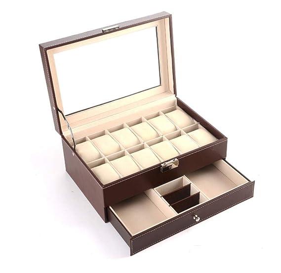 Watch Box 12 Reloj para Hombre Organizador de joyería Caja de presentación Llaves de Bloqueo Negro Cuero Caja de Almacenamiento de joyería de Doble Capa: ...