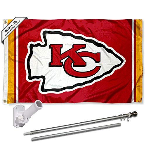 (WinCraft Kansas City Chiefs Flag Pole and Bracket Kit)