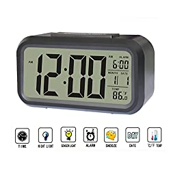 Smart Alarm Clock,Multi-Function Digital Clock with Dimmer Backlight,Time, Date, Temperature and Alarm (Black)