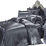 Where to Buy Comforter Sets THXSILK 19 Momme Silk Duvet Cover Set 4 Piece, Silk Sheets, Luxury Bedding Sets - Ultra Soft, Machine Washable, Hypoallergenic, Durable - 100% Top Grade Mulberry Silk, Queen Size, Dark Grey