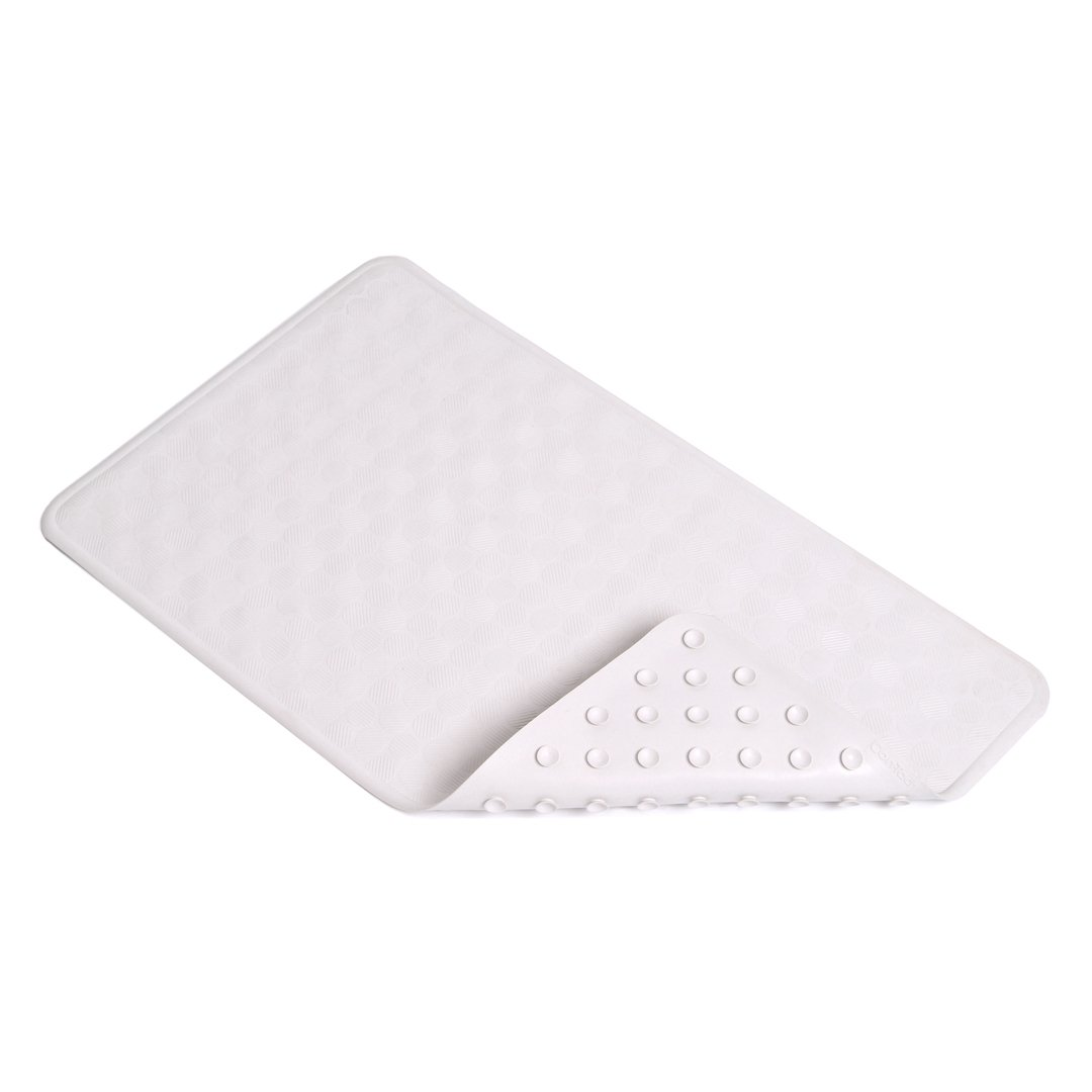 Con-Tact Brand 24-Inch by 14-Inch Rubber Bath Mat, White Circles BMAT-C4L04-04
