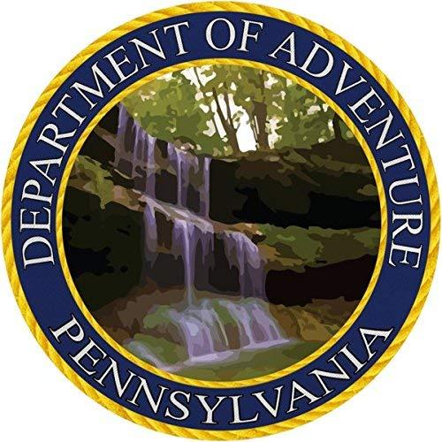 (Pennsylvania Sticker, Department of Adventure State Seal PA - Poconos River Waterfall - Vinyl Decal Label for Water Bottle Laptop Luggage Bike Laptop Tacklebox 5 Gal Bucket Bumper Helmet Waterproof)