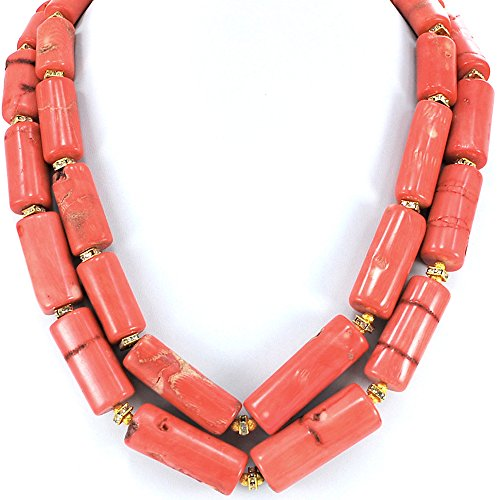 2 Strands Bamboo Coral Tube Beads Necklace with Gold Tone Toggle 20