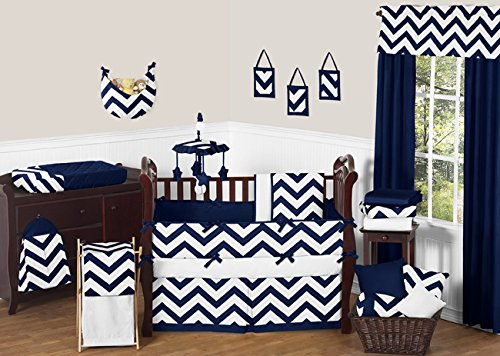 Sweet Jojo Designs Navy Blue and White Chevron Collection Zig Zag Fabric Memory/Memo Photo Bulletin Board