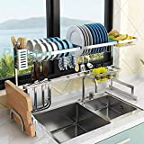 Dish Drying Rack Over Sink, Drainer Shelf for Kitchen Supplies Storage Counter Organizer Utensils Holder Stainless Steel Display- Kitchen Space Save Must Have (Sink size≤33 1/2 inch, black)