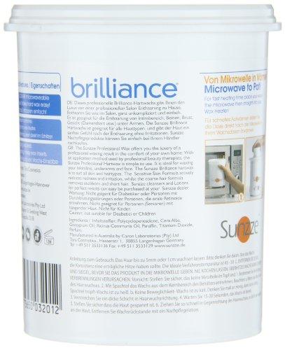 Sunzze Brilliance Wachs 800ml Mikrowelle geeignet, für Intim- Gesicht-, Damenbart- und Achsel- enthaarung. Benutzung ohne Vliesstreifen+ 5 Spatel.