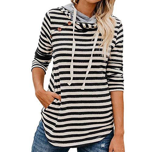 Goddessvan Womens Loose Long Sleeve Hoodies Side Button Hooded Stripe Pullover Shirt Black (Patagonia Womens Better Sweater Full Zip Hoody)