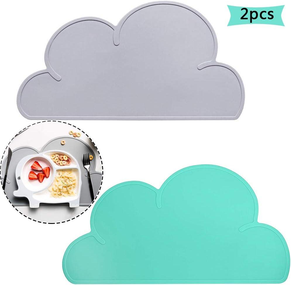 Mantel Individual de Silicona, BETOY 2 pcs Niños Alfombrilla con Forma de Nube Silicona Placemat Antideslizante Termoaislante Portátil Verde Gris, 48x27x0,21cm