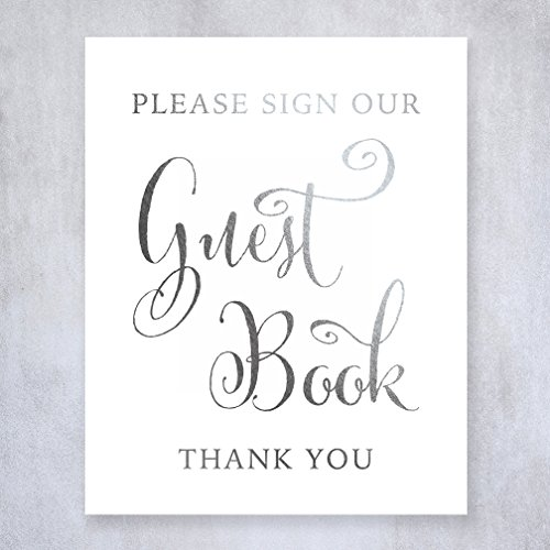 Guest Book Silver Foil Sign Wedding Reception Party Signage Art Print Modern Small Poster Decor 5 inches x 7 inches D34