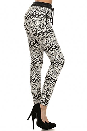 Sassy Apparel Womens Comfy Jogger Pants with Draw String (Large, White)