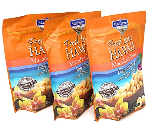 MacFarms Dry Roasted Macadamia Nuts With Sea Salt Fresh From Hawaii 24 Ounce (3 Pack)