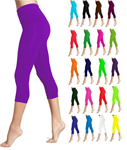 Lush Moda Seamless Capri Length Basic Cropped Leggings - Variety of Colors - Purple OS