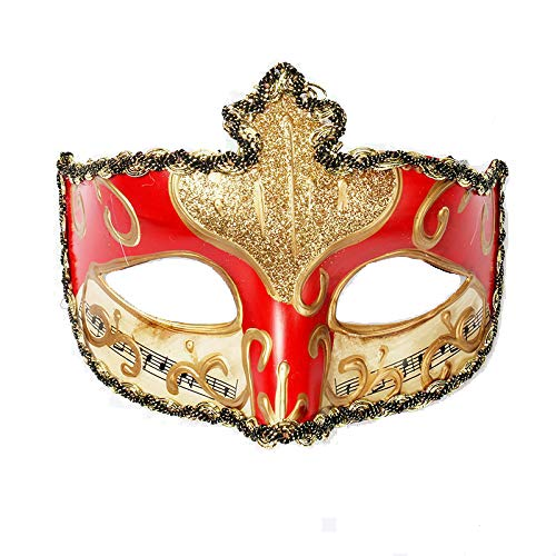 YUFENG Men Women Colorful Painting Mask Masquerade Venice Ball Masks Adult Prince Eye Mask Halloween Dance Party Supplies Halloween(Gold Mix red)]()
