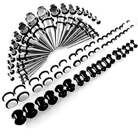CHESUN Ensanchadores De Oreja Kit 72 Piezas De Dilatadores para Orejas Acero Inoxidable Túneles 14G-00G Estiramiento Dilatación,Mezcla De Color Blanco Y ...