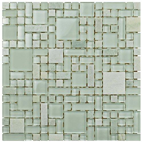 Mosaic Green Flooring - SomerTile GITMMVS Sierra Versailles Ming Glass and Stone Mosaic Wall Tile, 11.75