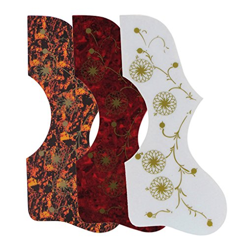 IKN 3pcs Mixed Color Self-adhesive Acoustic Guitar Pickguard with Fireworks Pattern ()