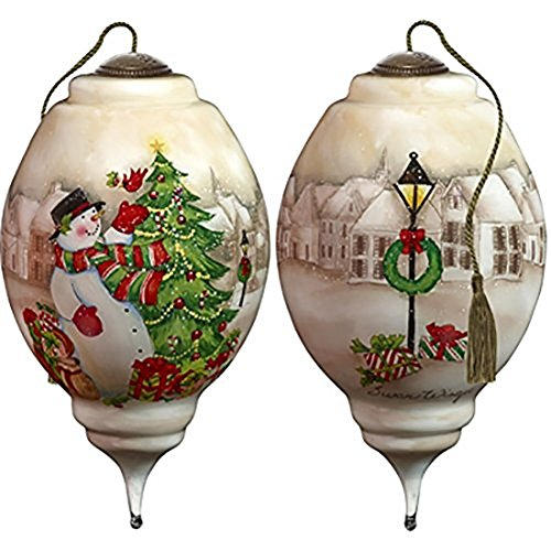 Snowman Hand Painted Ornaments - Ne'Qwa Art Hand Painted Blown Glass I'll Be Home for Christmas Snowman Ornament, Multicolor