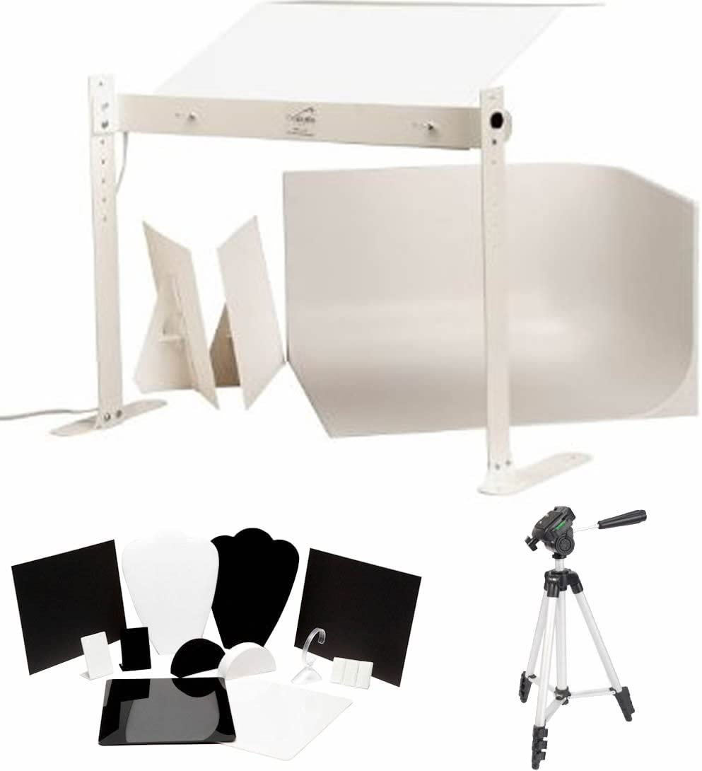 12pc Jewelry Photography Tool Kit MyStudio MS20J Tabletop Photo Studio Lightbox with 5000K Lighting Bonus Tripod