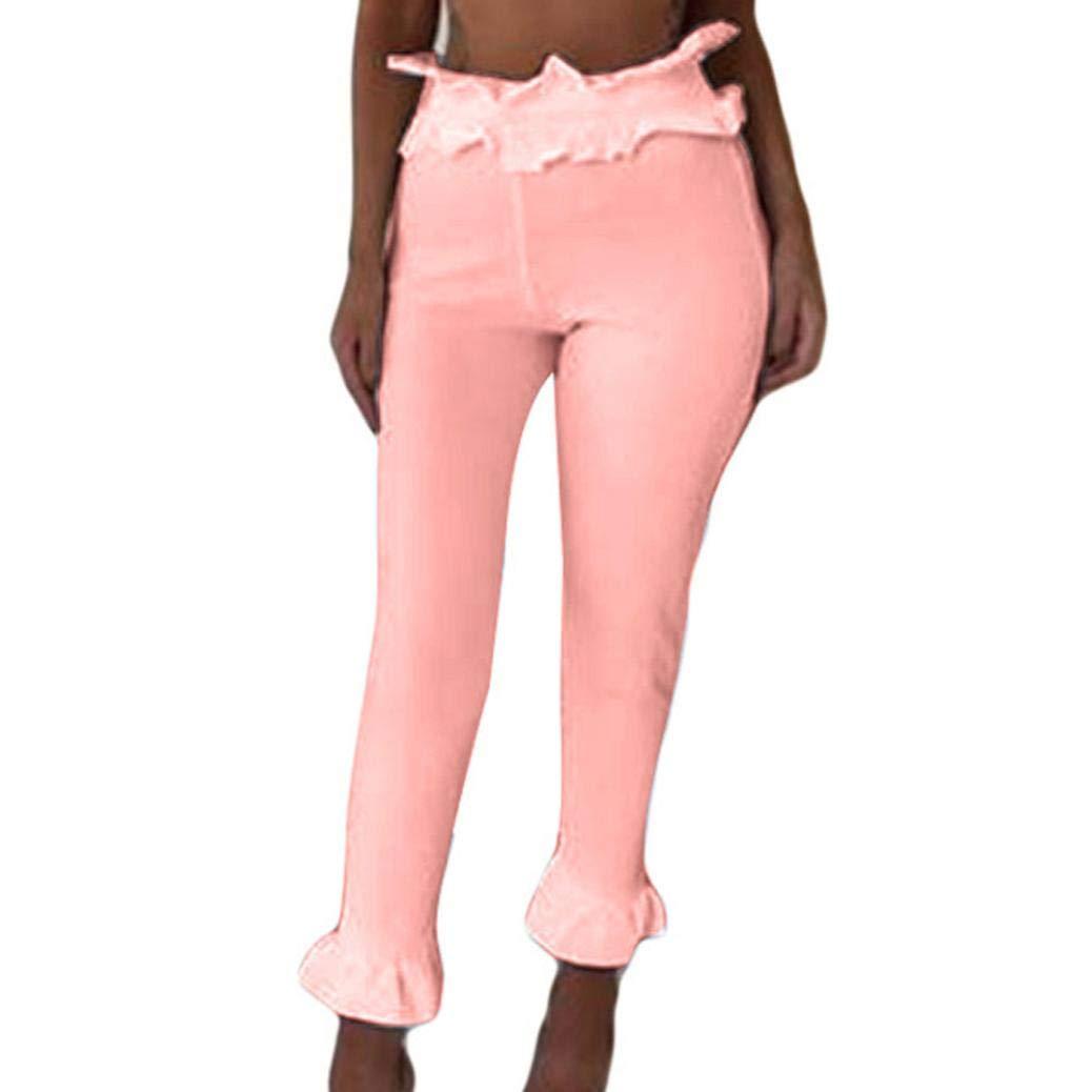 Molyveva Women Fashion Solid High Waist Ruffles Slim Cropped Skinny Casual Pant