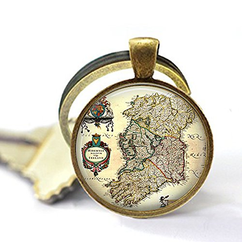 stap Antique Map of Ireland Early 1800s Keychain ()