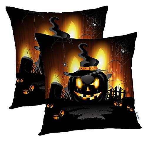 Batmerry Halloween Pillow Covers 18x18 inch Set of 2,Halloween Cemetery Ghost Food Art Autumn Black Blue Bright Classic Throw Pillows Covers Sofa Cushion Cover Pillowcase]()