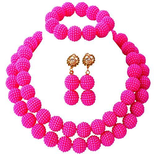 aczuv Fashion Women Nigerian Wedding African Beads Simulated Pearl Bridal Jewelry Sets (Hot Pink)