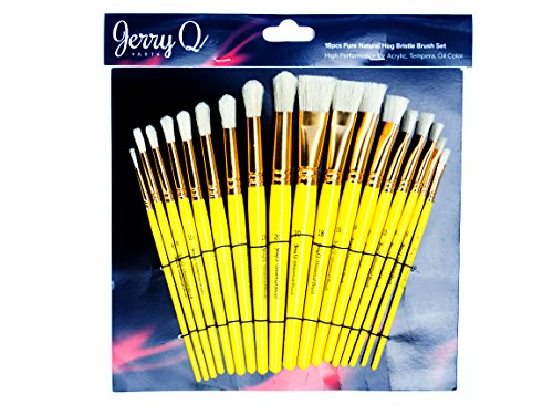 Jerry Q Art 18 pcs Pure Natural Hog Bristle Brush Set for Oil, Acrylic, Tempera. Short Wood Handles JQ181