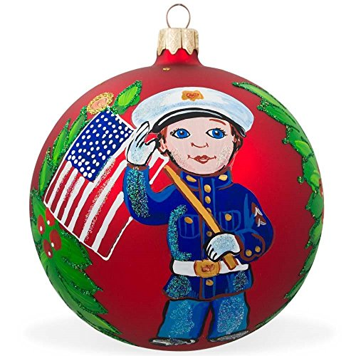 BestPysanky USA Marine Soldier w/American Flag Glass Ball Patriotic Christmas Ornament 4 Inches