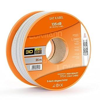 Cable de antena coaxial digital (25 m, 7 mm, 135 dB, 5 vías ...