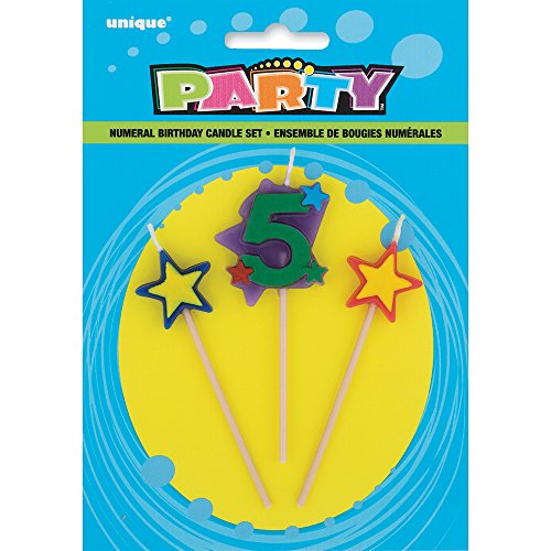 Stars & Number 5 Birthday Candle Set, 3pc