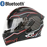 Slsy Bluetooth Integrated Helmets Motorcycle Modular Helmet, DOT Approved Flip up Full Face Helmets with Dual Visors for Adult, Men, Women, Riders. (Matte Black w/red, XL 23¾ -24 in)