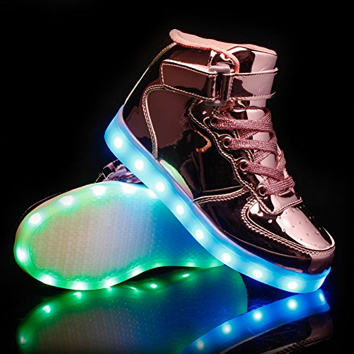 Top Unisex Scarpe Luminosi LED Sneakers High Lampeggiante Adulto Carica USB Pink ByBetty HtOdSwqw