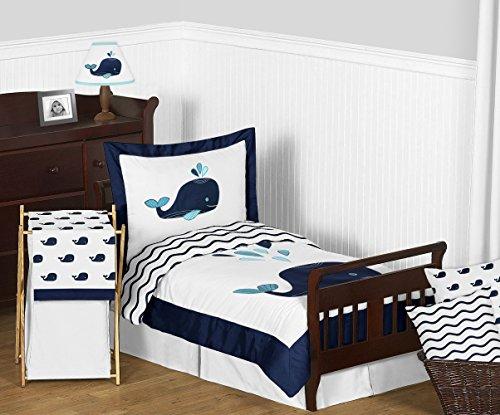 Sweet Jojo Designs Turquoise, Navy Blue and White Whale Nautical Ocean Boys or Girls Toddler Bedding Comforter Sheet Set