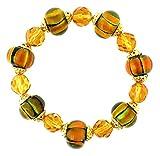 A-Ha Stretch Lampwork Glass Bead Bracelet - Orange, Green and Golden (B263)