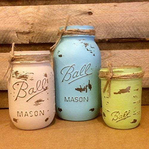 Rustic 5 Piece Mason Jar Desk Set, Blue, Green and Tan Mason Jars Bathroom Decor in Coastal Colors by AmericanaGloriana