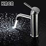 jacuzzi waterfall faucet brushed nickel KAEN Widespread Single Handle Single Hole Vessel Vanity Bathroom Basin Faucet with Hot and Cold Water Hose, Lavatory Faucet Brushed Nickel