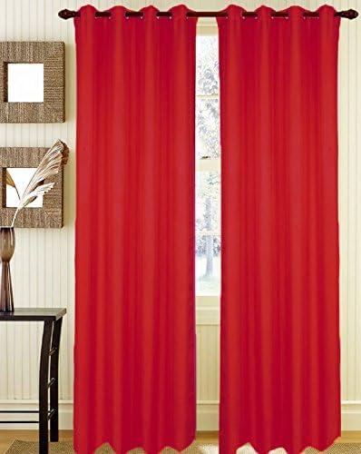 Coppia Tendoni Bella Tinta Unita 100% Poliestere con Occhielli Misura 140×290 cm Oscurante al 90% Colore Rosso